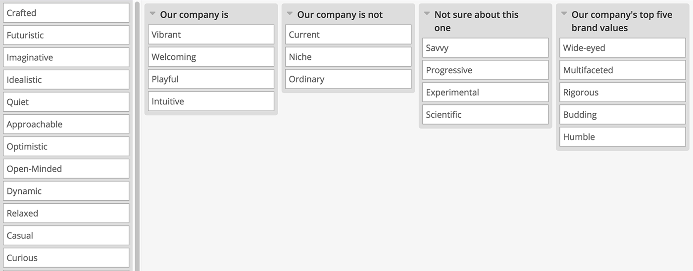 Example closed card sort to test your company values