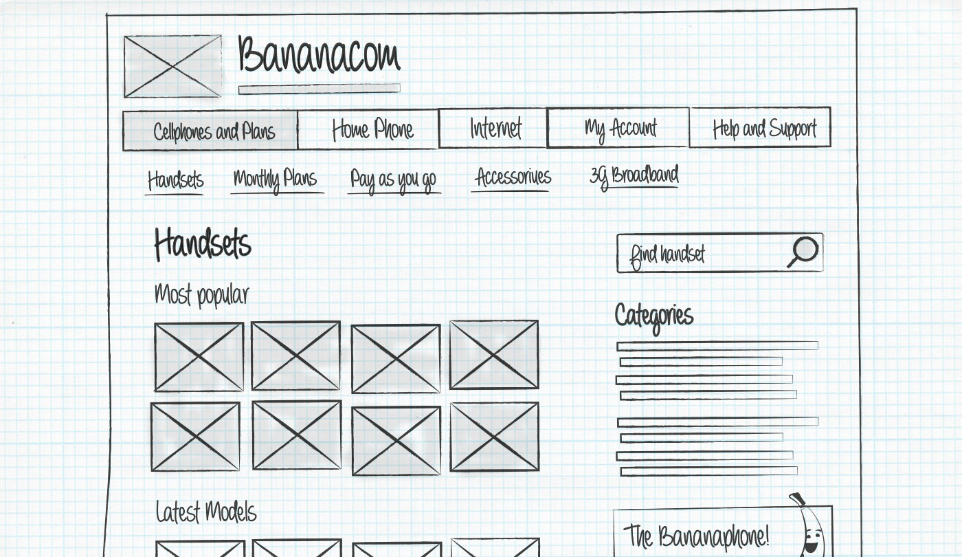 Example wireframe sketch